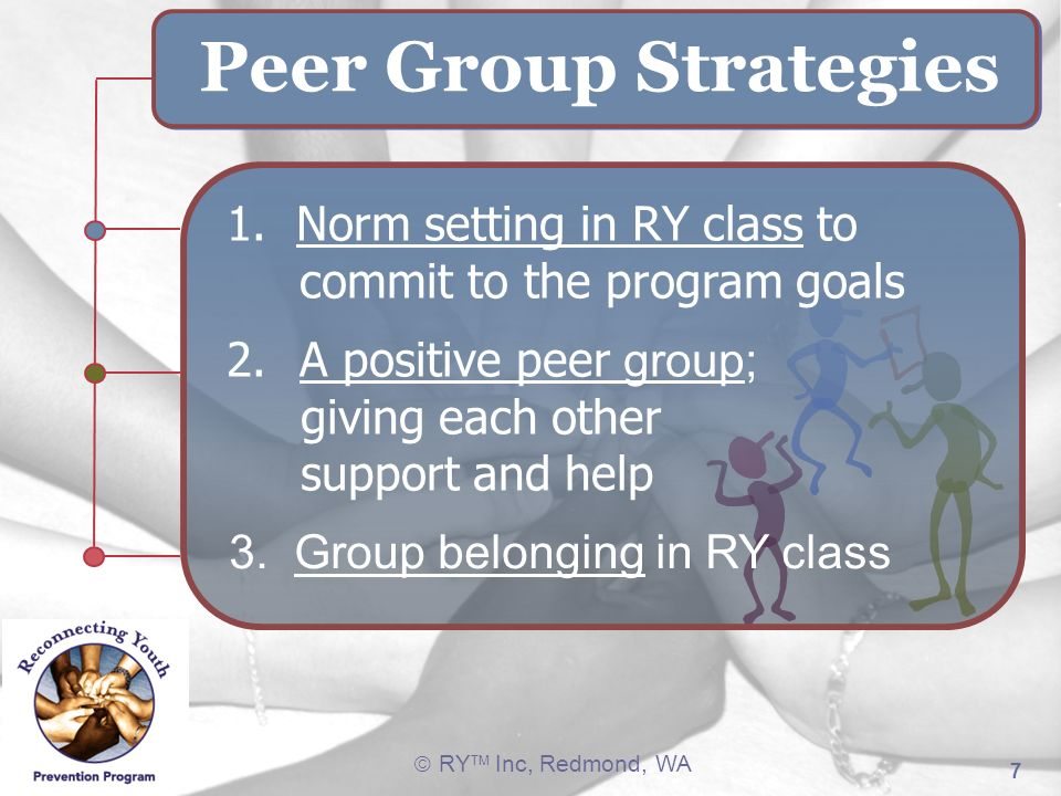 RY TM Inc, Redmond, WA 7 Peer Group Strategies 1. Norm setting in RY class to commit to the program goals 2.A positive peer group; giving each other s