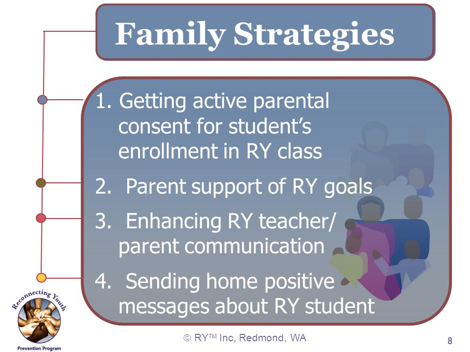 RY TM Inc, Redmond, WA 8 Family Strategies 1. Getting active parental consent for students enrollment in RY class 2. Parent support of RY goals 3. Enh
