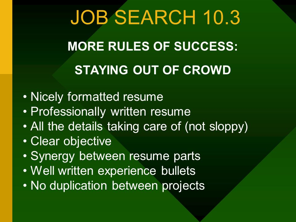 JOB SEARCH 10.3 MORE RULES OF SUCCESS: STAYING OUT OF CROWD Nicely formatted resume Professionally written resume All the details taking care of (not