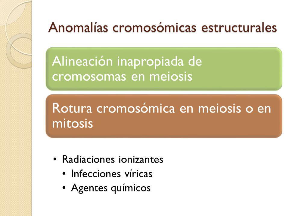 Anomalías cromosómicas estructurales Alineación inapropiada de cromosomas en meiosis Rotura cromosómica en meiosis o en mitosis Radiaciones ionizantes