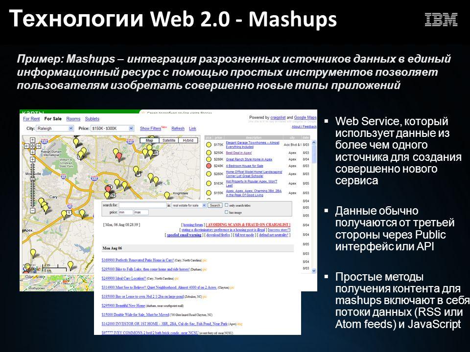 Пример: Mashups – интеграция разрозненных источников данных в единый информационный ресурс с помощью простых инструментов позволяет пользователям изобретать совершенно новые типы приложений Web Service, который использует данные из более чем одного источника для создания совершенно нового сервиса Данные обычно получаются от третьей стороны через Public интерфейс или API Простые методы получения контента для mashups включают в себя потоки данных (RSS или Atom feeds) и JavaScript Технологии Web 2.0 - Mashups