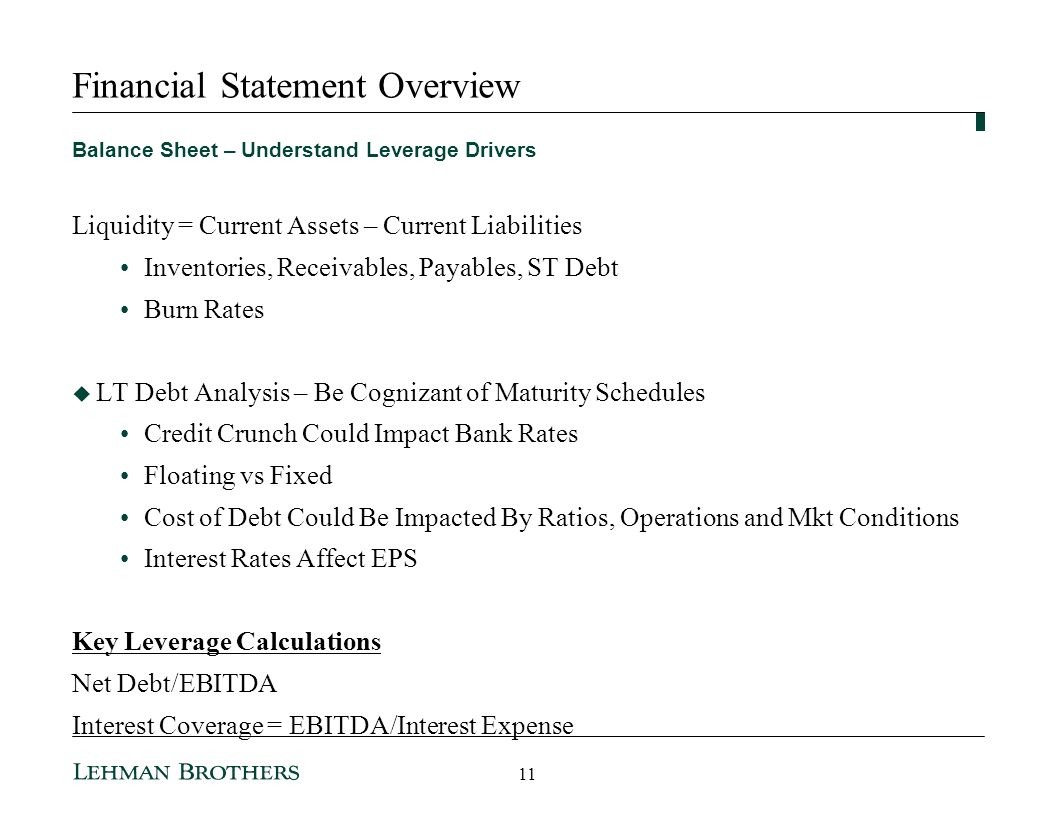Financial Statement Overview Balance Sheet – Understand Leverage Drivers Liquidity = Current Assets – Current Liabilities Inventories, Receivables, Payables, ST Debt Burn Rates LT Debt Analysis – Be Cognizant of Maturity Schedules Credit Crunch Could Impact Bank Rates Floating vs Fixed Cost of Debt Could Be Impacted By Ratios, Operations and Mkt Conditions Interest Rates Affect EPS Key Leverage Calculations Net Debt/EBITDA Interest Coverage = EBITDA/Interest Expense 11