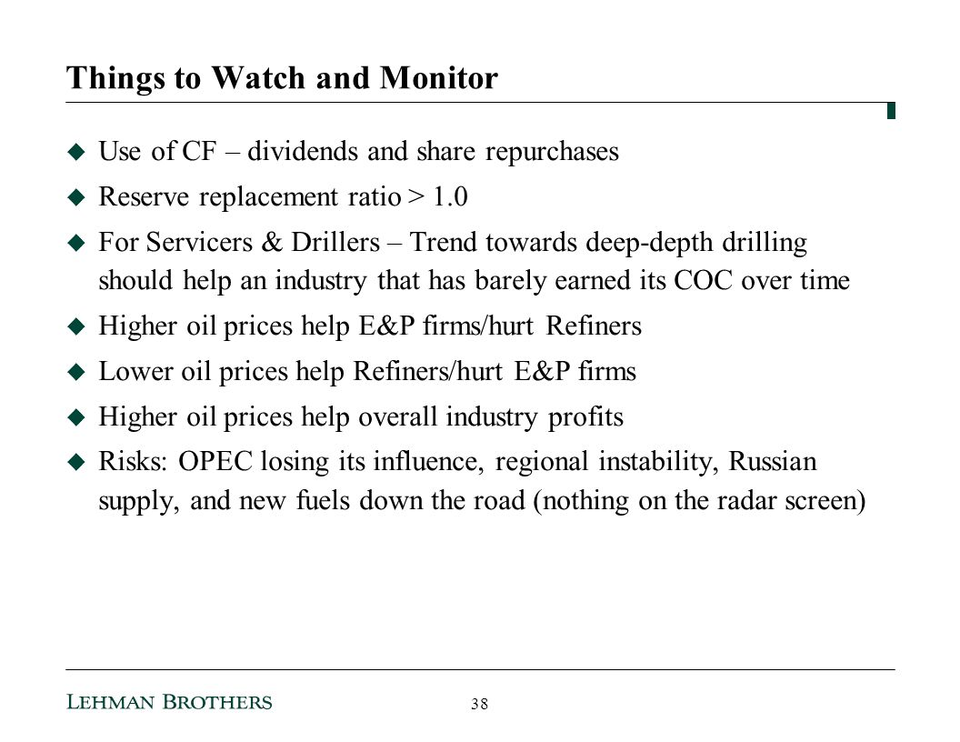 Things to Watch and Monitor Use of CF – dividends and share repurchases Reserve replacement ratio > 1.0 For Servicers & Drillers – Trend towards deep-depth drilling should help an industry that has barely earned its COC over time Higher oil prices help E&P firms/hurt Refiners Lower oil prices help Refiners/hurt E&P firms Higher oil prices help overall industry profits Risks: OPEC losing its influence, regional instability, Russian supply, and new fuels down the road (nothing on the radar screen) 38