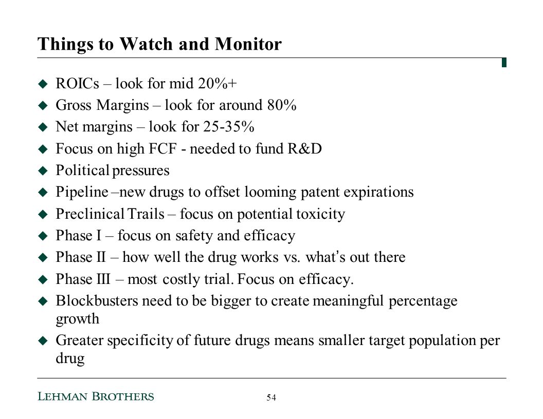 Things to Watch and Monitor ROICs – look for mid 20%+ Gross Margins – look for around 80% Net margins – look for 25-35% Focus on high FCF - needed to fund R&D Political pressures Pipeline –new drugs to offset looming patent expirations Preclinical Trails – focus on potential toxicity Phase I – focus on safety and efficacy Phase II – how well the drug works vs.