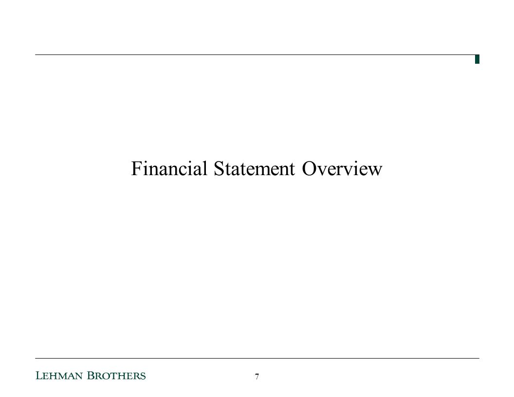 Financial Statement Overview 7