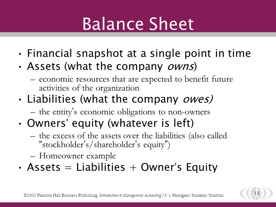 13 Balance Sheet Financial snapshot at a single point in time Assets (what the company owns) –economic resources that are expected to benefit future activities of the organization Liabilities (what the company owes) –the entity s economic obligations to non-owners Owners equity (whatever is left) –the excess of the assets over the liabilities (also called stockholder s/shareholder s equity ) –Homeowner example Assets = Liabilities + Owner s Equity ©2005 Prentice Hall Business Publishing, Introduction to Management Accounting 13/e, Horngren/Sundem/Stratton