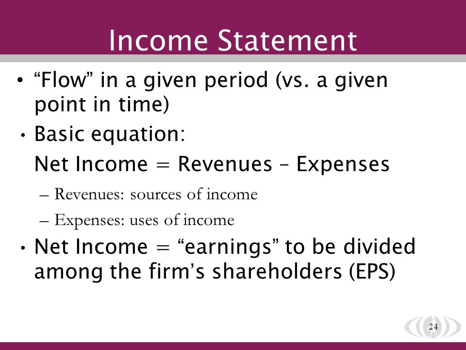 24 Income Statement Flow in a given period (vs. a given point in time) Basic equation: Net Income = Revenues – Expenses –Revenues: sources of income –