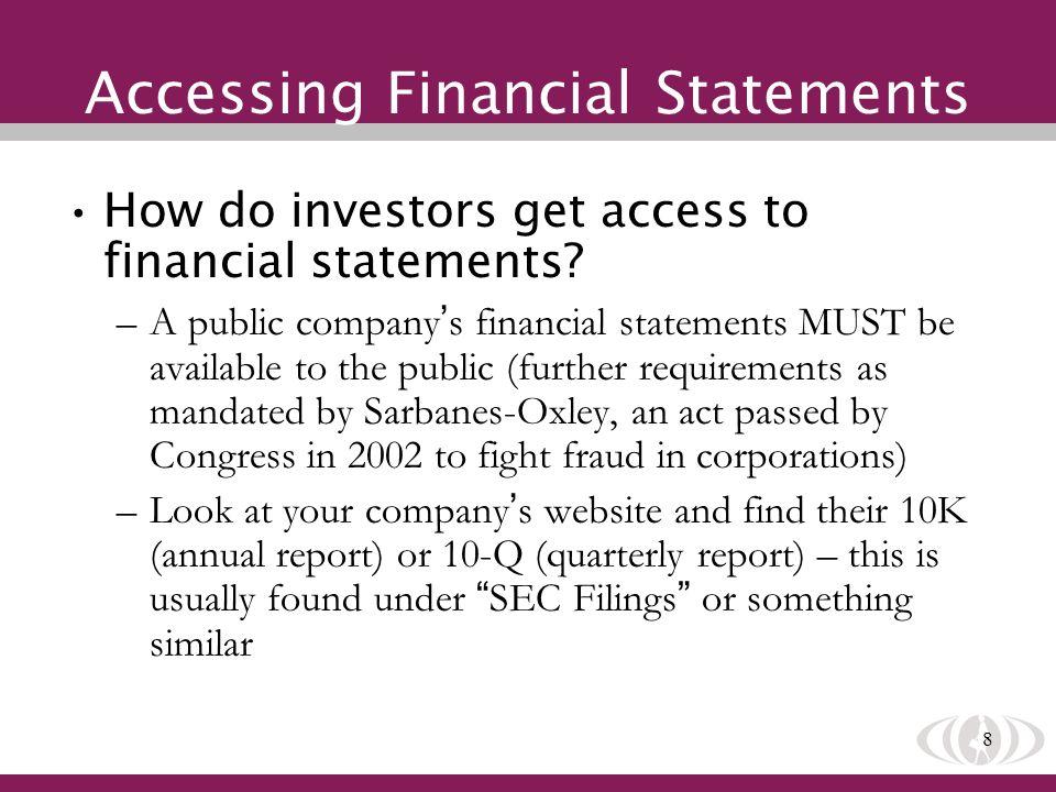 9 Accessing Financial Statements Public Companies: www.sec.gov/edgar