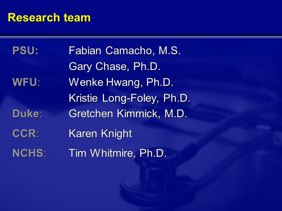 Research team PSU:Fabian Camacho, M.S. Gary Chase, Ph.D.