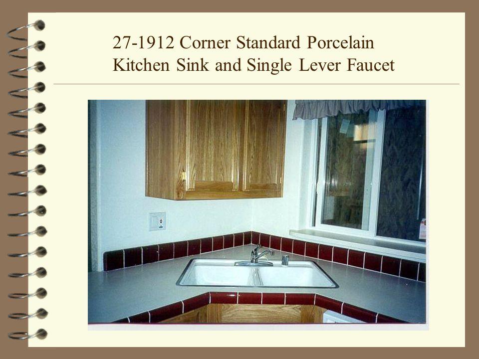 27-1912 Corner Standard Porcelain Kitchen Sink and Single Lever Faucet