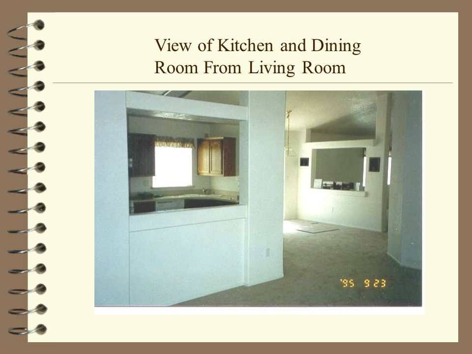 View of Kitchen and Dining Room From Living Room