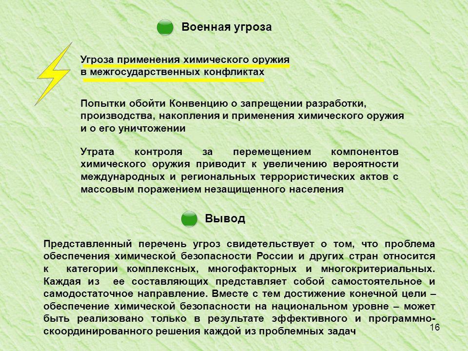 16 Военная угроза Вывод Представленный перечень угроз свидетельствует о том, что проблема обеспечения химической безопасности России и других стран относится к категории комплексных, многофакторных и многокритериальных.
