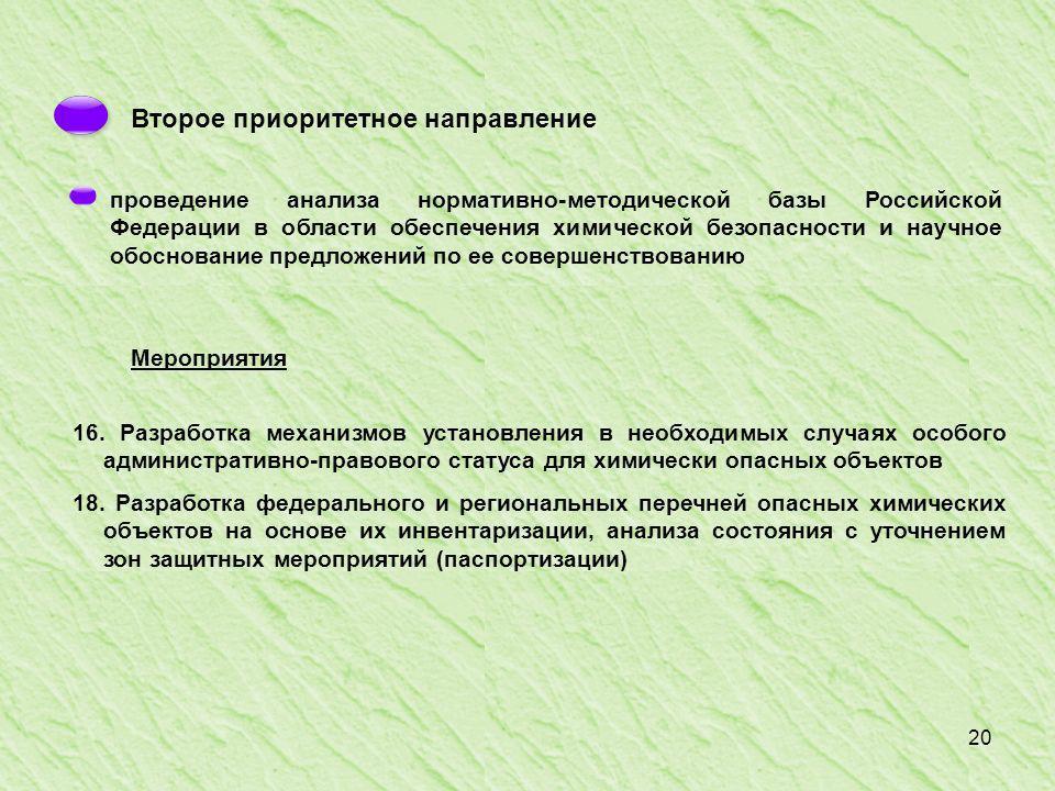 20 Второе приоритетное направление проведение анализа нормативно-методической базы Российской Федерации в области обеспечения химической безопасности и научное обоснование предложений по ее совершенствованию Мероприятия 16.