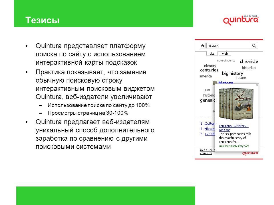 Тезисы Quintura представляет платформу поиска по сайту с использованием интерактивной карты подсказок Практика показывает, что заменив обычную поисков
