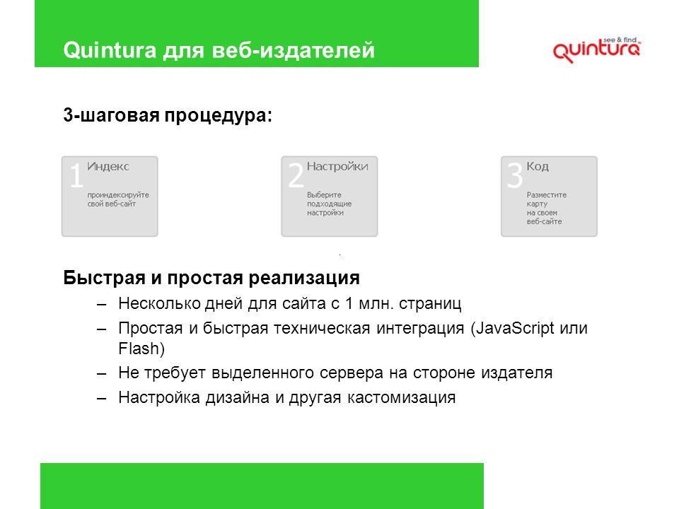 Quintura для веб-издателей 3-шаговая процедура: Быстрая и простая реализация –Несколько дней для сайта с 1 млн. страниц –Простая и быстрая техническая