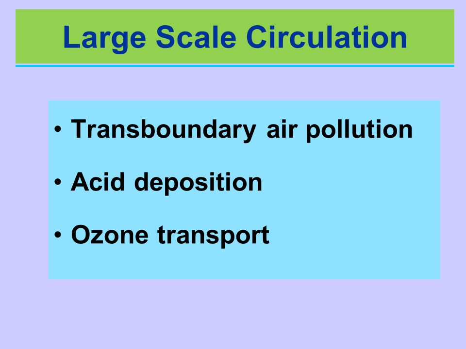 Large Scale Circulation Transboundary air pollution Acid deposition Ozone transport