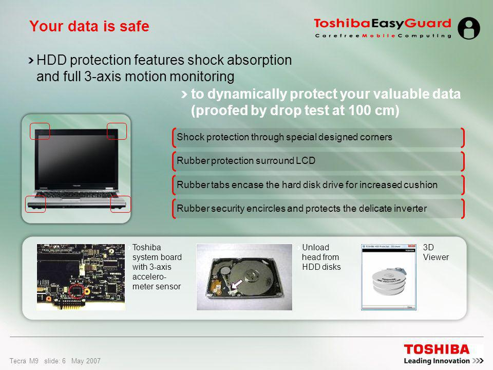 Tecra M9 slide: 5 May 2007 The Tecra M9 featuring new and improved Toshiba EasyGuard technologies: The better way to enhanced data security, advanced