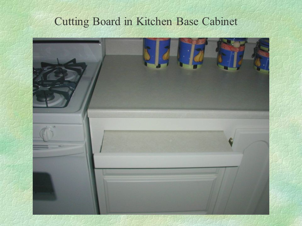 Cutting Board in Kitchen Base Cabinet