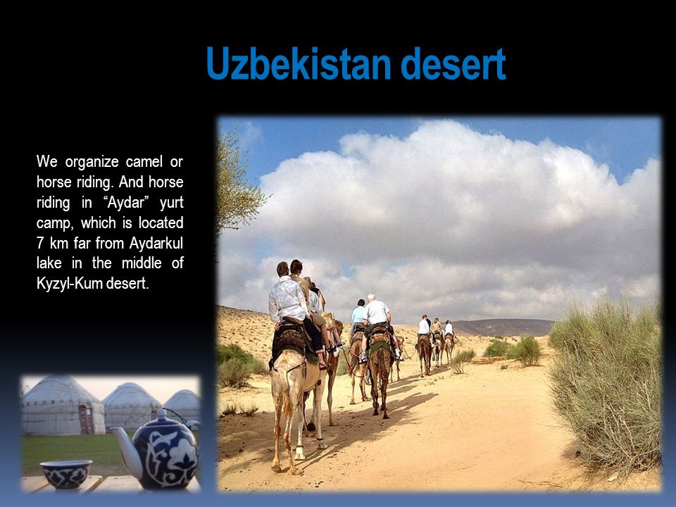 Uzbekistan desert We organize camel or horse riding. And horse riding in Aydar yurt camp, which is located 7 km far from Aydarkul lake in the middle o