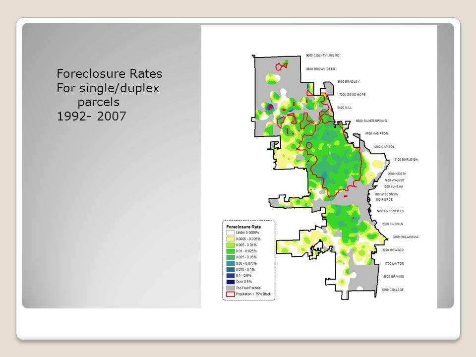 Foreclosure Rate 1992 to 2007 Red outline surrounds blocks within the city of Milwaukee which are greater than 75% African American Foreclosure Rates For single/duplex parcels 1992- 2007