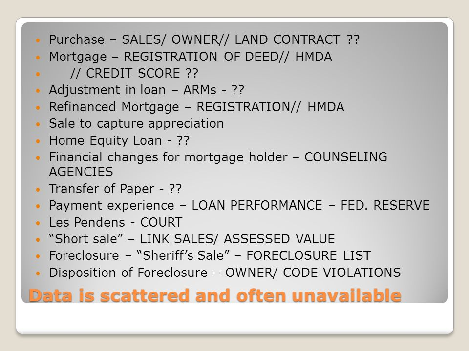 Data is scattered and often unavailable Purchase – SALES/ OWNER// LAND CONTRACT .