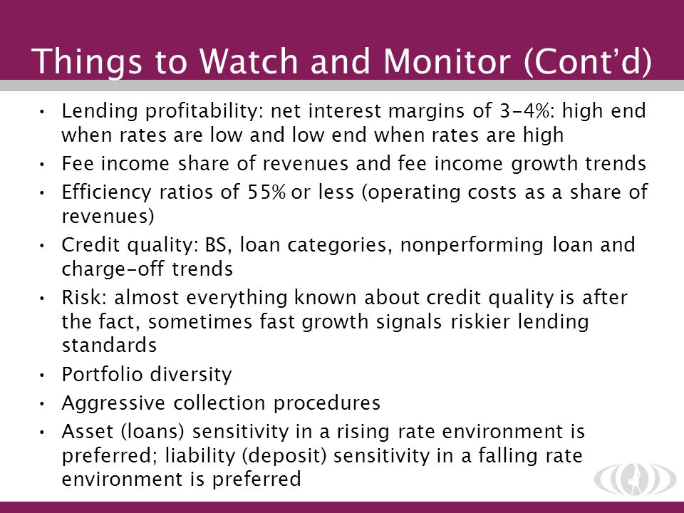 Things to Watch and Monitor (Cont d) Lending profitability: net interest margins of 3-4%: high end when rates are low and low end when rates are high