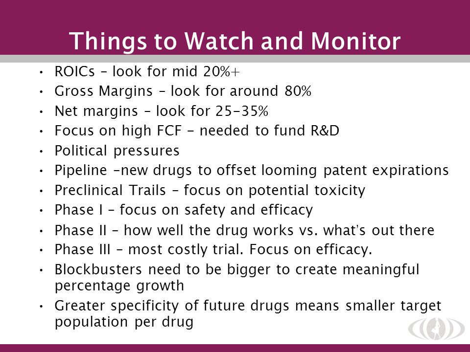 Things to Watch and Monitor ROICs – look for mid 20%+ Gross Margins – look for around 80% Net margins – look for 25-35% Focus on high FCF - needed to