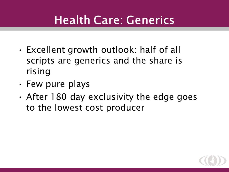 Health Care: Generics Excellent growth outlook: half of all scripts are generics and the share is rising Few pure plays After 180 day exclusivity the