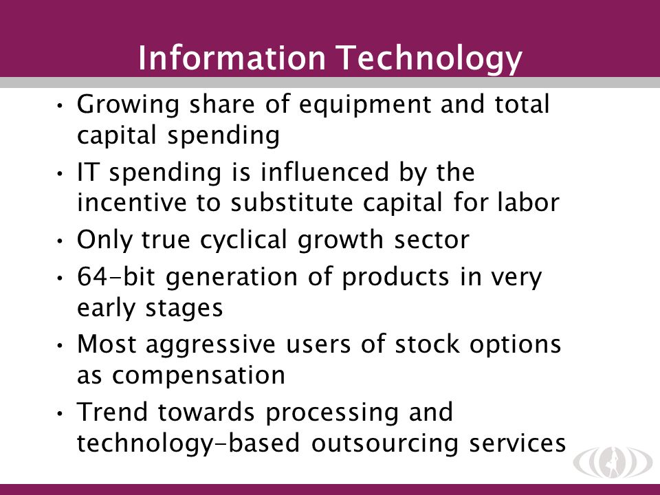 Information Technology Growing share of equipment and total capital spending IT spending is influenced by the incentive to substitute capital for labo