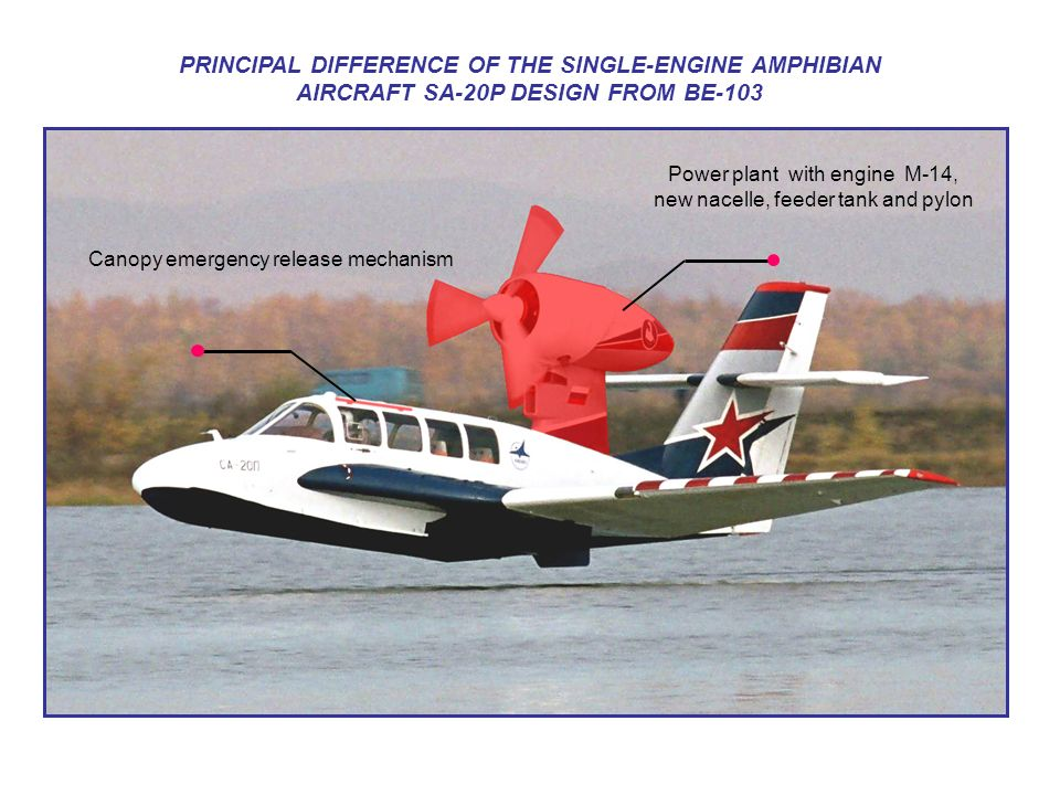 PRINCIPAL DIFFERENCE OF THE SINGLE-ENGINE AMPHIBIAN AIRCRAFT SA-20P DESIGN FROM BE-103 Power plant with engine М-14, new nacelle, feeder tank and pylo
