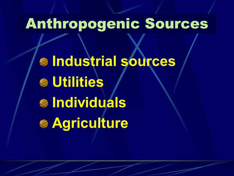 Anthropogenic Sources Industrial sources Utilities Individuals Agriculture