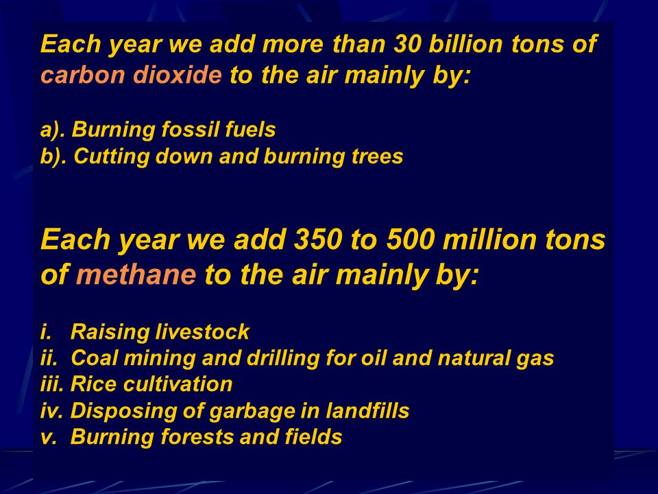 Each year we add more than 30 billion tons of carbon dioxide to the air mainly by: a). Burning fossil fuels b). Cutting down and burning trees Each ye