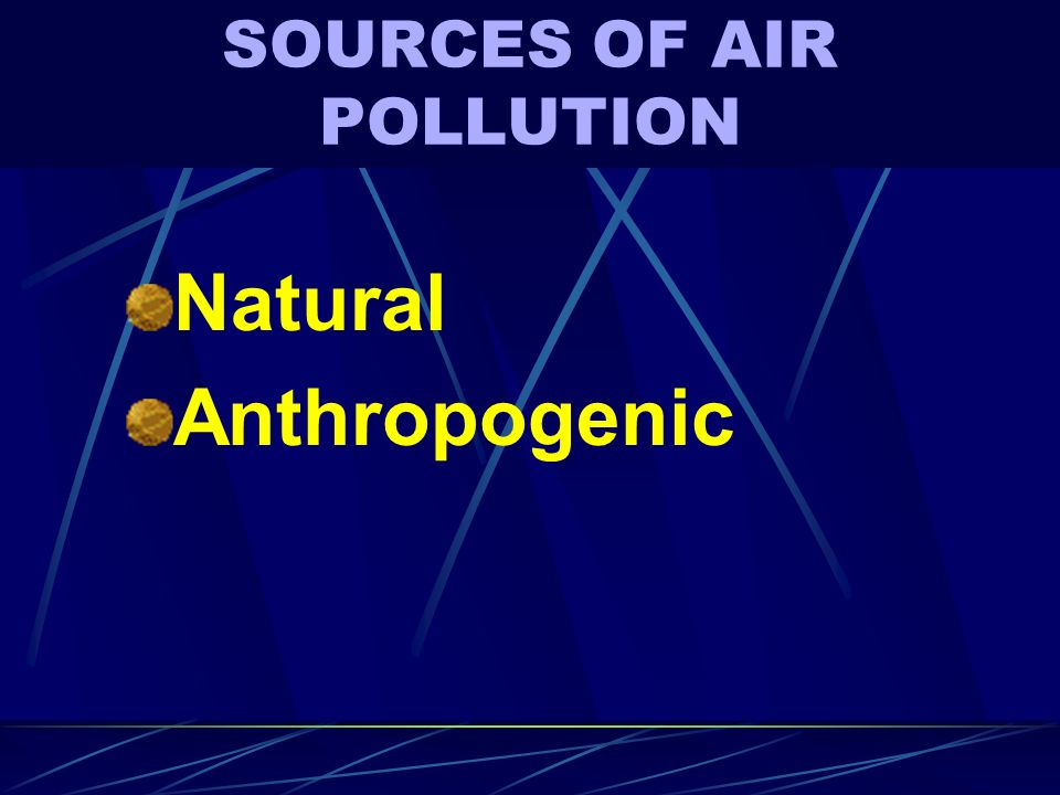 SOURCES OF AIR POLLUTION Natural Anthropogenic
