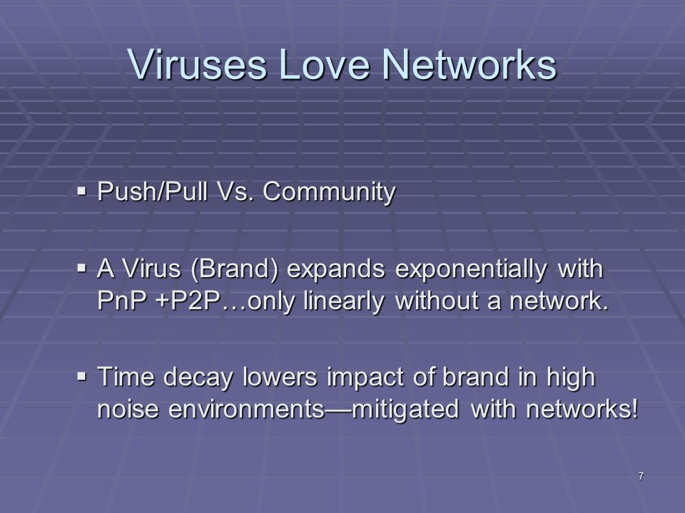7 Viruses Love Networks Push/Pull Vs. Community Push/Pull Vs.