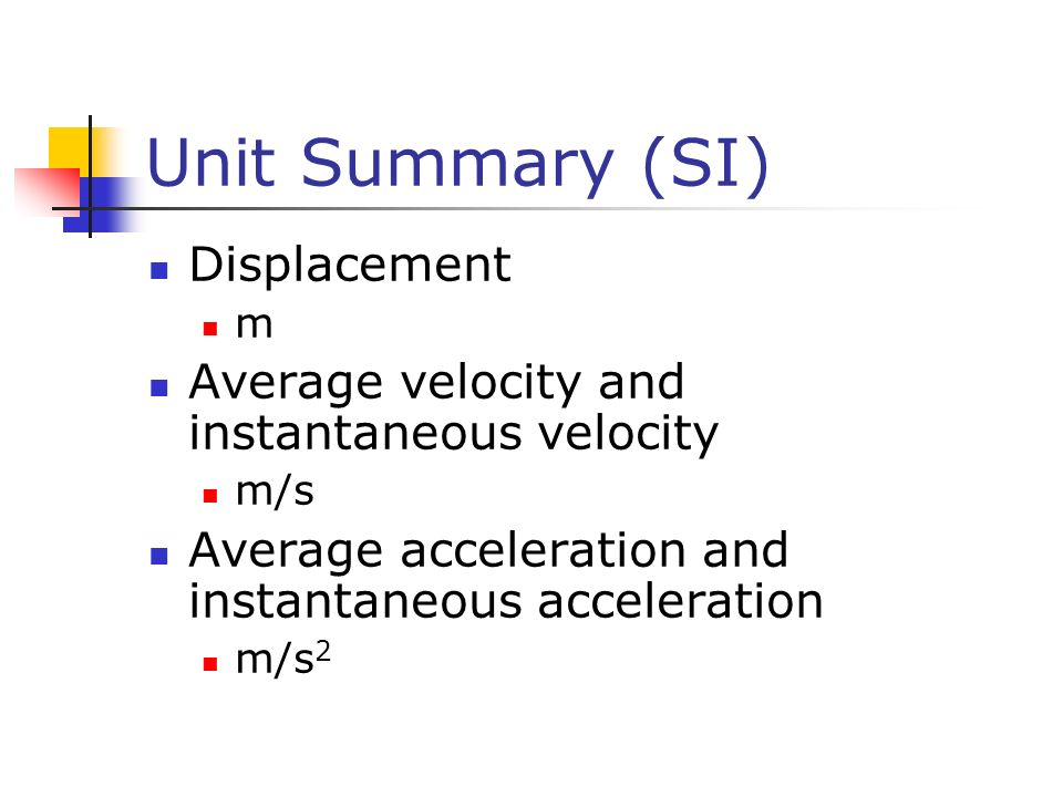 Unit Summary (SI) Displacement m Average velocity and instantaneous velocity m/s Average acceleration and instantaneous acceleration m/s 2