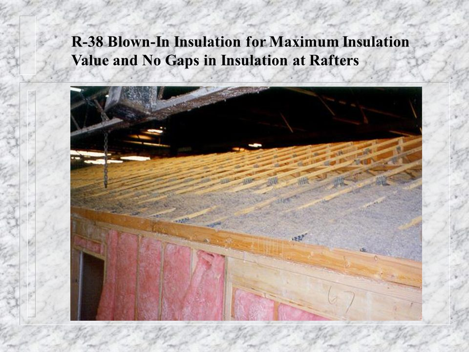 R-38 Blown-In Insulation for Maximum Insulation Value and No Gaps in Insulation at Rafters