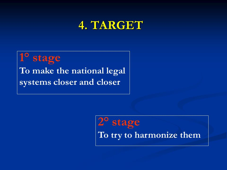 4. TARGET 1° stage To make the national legal systems closer and closer 2° stage To try to harmonize them