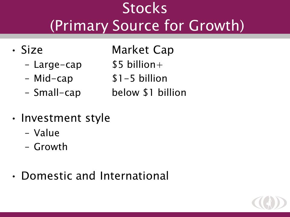 Stocks (Primary Source for Growth) SizeMarket Cap –Large-cap$5 billion+ –Mid-cap$1-5 billion –Small-capbelow $1 billion Investment style –Value –Growt