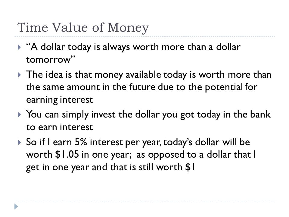 Time Value of Money A dollar today is always worth more than a dollar tomorrow The idea is that money available today is worth more than the same amou