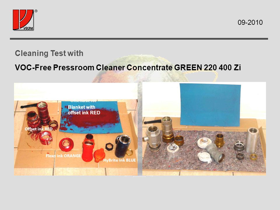 Cleaning Test with VOC-Free Pressroom Cleaner Concentrate GREEN Zi Gummituch mit Offsetfarbe rot HyBrite ink BLUE Flexo ink ORANGE Offset ink RED Blanket with offset ink RED