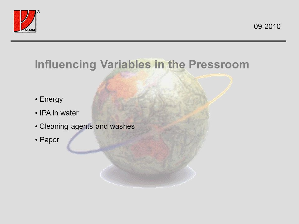 Influencing Variables in the Pressroom Energy IPA in water Cleaning agents and washes Paper
