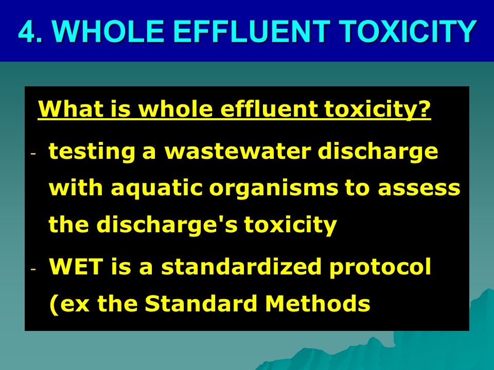 What is whole effluent toxicity.What is whole effluent toxicity.