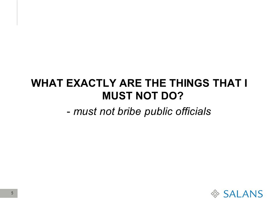 5 WHAT EXACTLY ARE THE THINGS THAT I MUST NOT DO? - must not bribe public officials