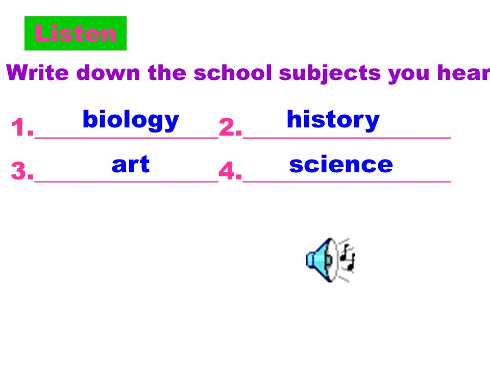 1a Put these days into the correct order. A: What subjects do you study at school? a. art b. science c. music d. math e. P.E. f. Chinese g. history h.
