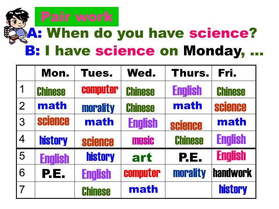 Listen Write down the school subjects you hear. 1._______________2._________________ 3._______________4._________________ biologyhistory artscience