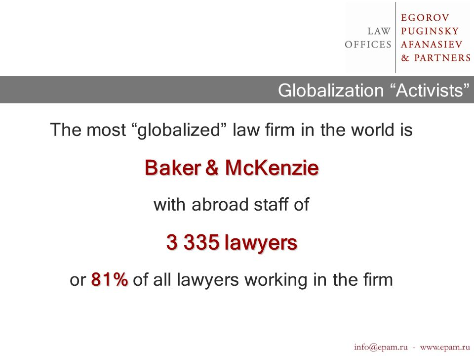 Anglo-American Dominance in the Legal Market 1.Transnational companies reign the world economy; 2.