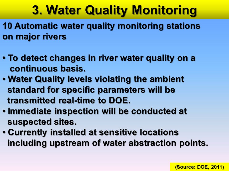 3. Water Quality Monitoring 10 Automatic water quality monitoring stations on major rivers To detect changes in river water quality on a To detect cha