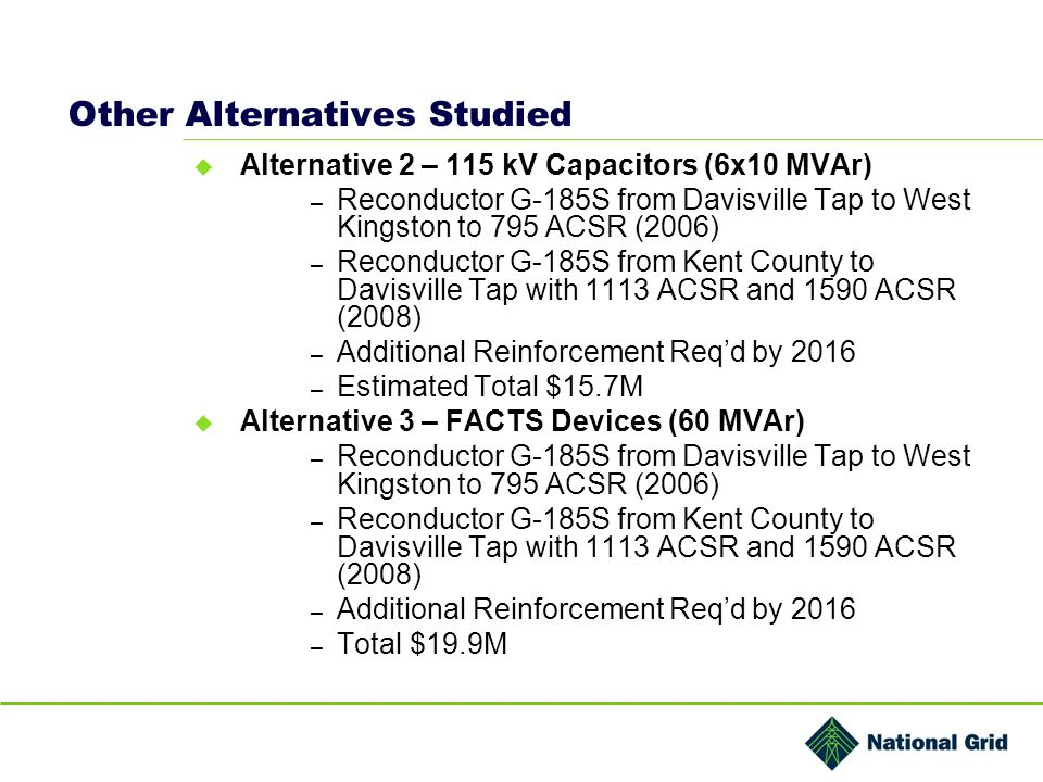 Other Alternatives Studied Alternative 2 – 115 kV Capacitors (6x10 MVAr) – Reconductor G-185S from Davisville Tap to West Kingston to 795 ACSR (2006) – Reconductor G-185S from Kent County to Davisville Tap with 1113 ACSR and 1590 ACSR (2008) – Additional Reinforcement Reqd by 2016 – Estimated Total $15.7M Alternative 3 – FACTS Devices (60 MVAr) – Reconductor G-185S from Davisville Tap to West Kingston to 795 ACSR (2006) – Reconductor G-185S from Kent County to Davisville Tap with 1113 ACSR and 1590 ACSR (2008) – Additional Reinforcement Reqd by 2016 – Total $19.9M