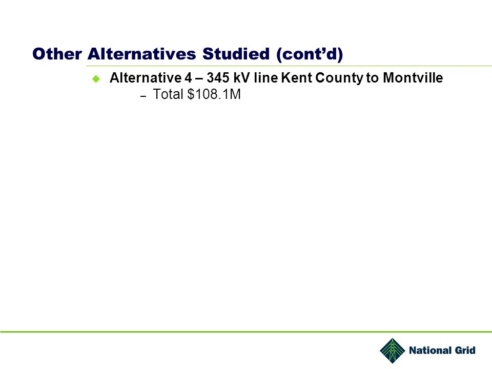 Other Alternatives Studied (contd) Alternative 4 – 345 kV line Kent County to Montville – Total $108.1M