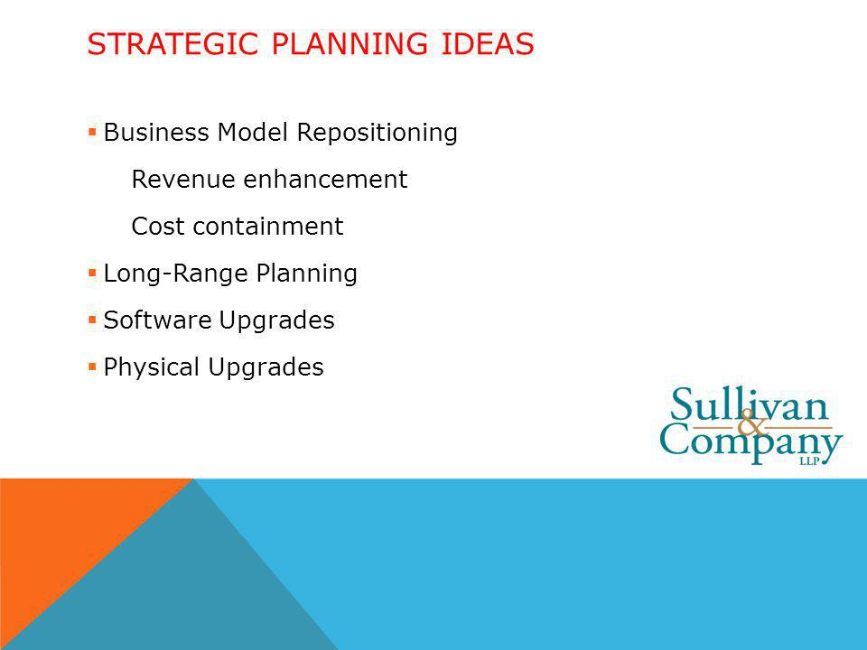STRATEGIC PLANNING IDEAS Business Model Repositioning Revenue enhancement Cost containment Long-Range Planning Software Upgrades Physical Upgrades